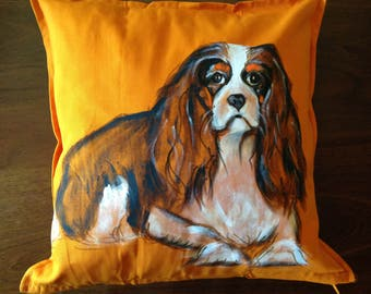 Cavalier King Charles Spaniel - hand painted cushion cover orange