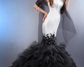 Black wedding dress, Black and white wedding dress, mermaid black wedding dress, mermaid wedding dress