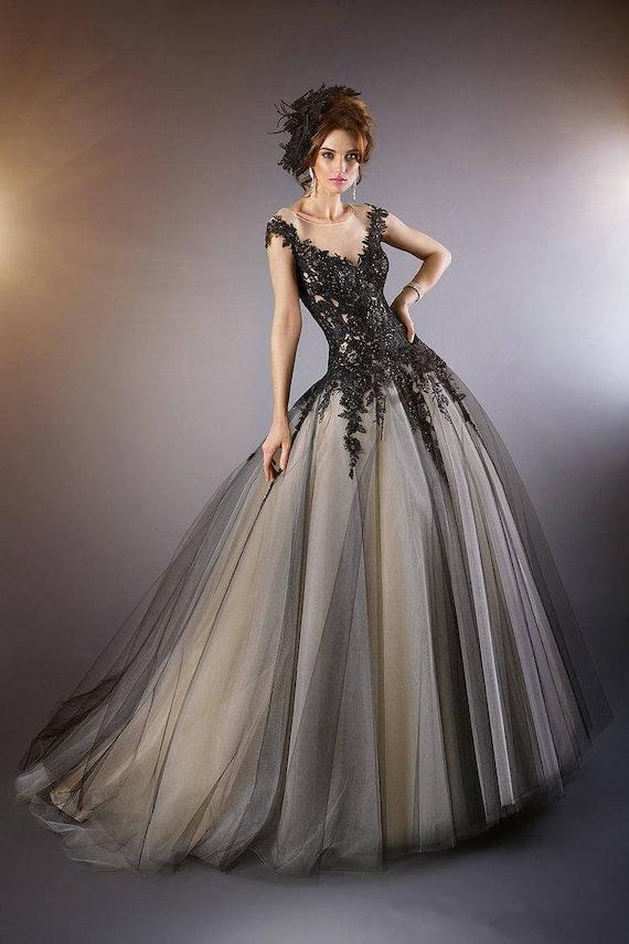 Black wedding dress Lace wedding dress black and white