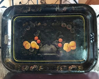 Toleware Metal Tin Serving Tray, Hand Painted, Whitesmith, Horn of Plenty/American Eagle, 2 Hole-Handles, Vintage, Antique Metal Art, 1800's