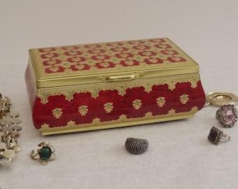 Vintage Decorative Tin Red and Gold Floral Chrismas Box, romance Tin Trinket Box, Cottage Chic Boudoir Decor