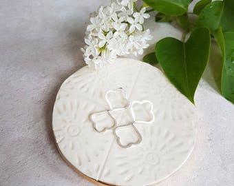 Reflection Alhambra Earrings. Solid Silver Moroccan Earrings. Minimalist Flower Earrings.
