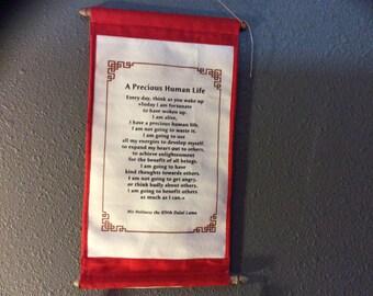 Dalai lama quote precious human life Tibetan wall hang cotton