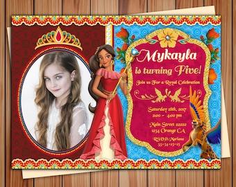 Princess Elena of Avalor party photo invitation, Elena Avalor party Chalkboard invitation, Elena of Avalor invitation, Thank you card free!