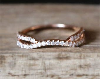 New Design Danity Diamond Wedding Ring Half Eternity Conflict Free Diamonds Ring 14K Rose Gold Bridal Ring Match Ring Vintage Curved Ring