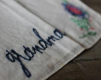 """Vintage Embroidered Hankie - """"grandma"""""""