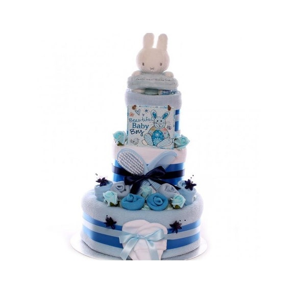 Luxury Miffy Nappy Cake For A Baby Boy, nappy cake 3 tier, large nappy cake with Soft Toy, baby boy nappy cake gift, new baby gift