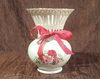 Vintage Formalities by Baum Bros lattice vase with roses, free shipping