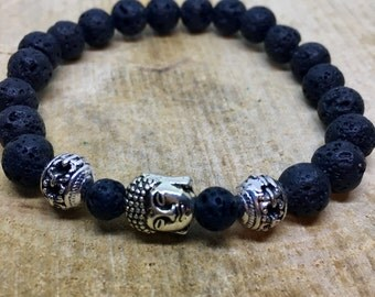 Cool mens bracelet of lava with silver and Buddha