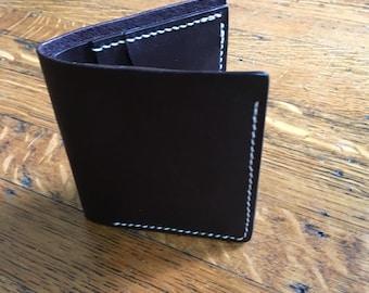 Handmade leather bifold wallet in dark brown