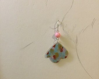 Sky blue and pink bird earring
