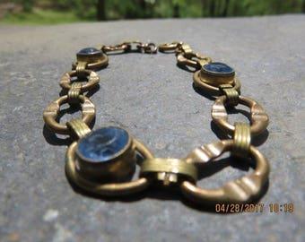 Art Nouveau Bracelet with Blue Rhinestones