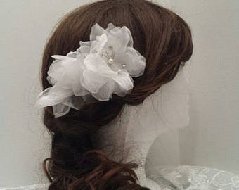 "Flower Hair Comb, 5.5"" x 3.5"", Bridal Hair Flower, Updo Decorative Comb__FF01"