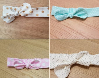 Autumn Spots Collection - Baby knot bow headbands: NB - Toddler sizes