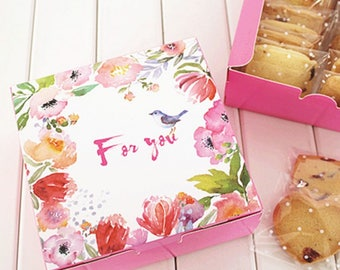 12*12*4.5cm 10pcs pink bird srping design Cheese Cake Paper Box Cookie Container gift Packaging Wedding Christmas Use