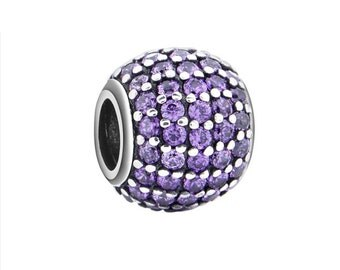 Purple CZ Charm Bead, 925 Sterling Silver, fits Pandora Bracelets or Any Chain