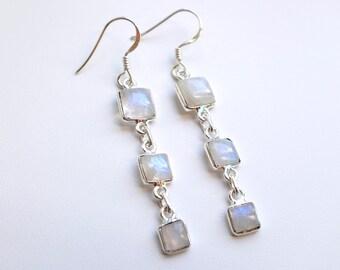 June Birthstone Long Earrings, Moonstone Earrings, Wedding Earrings, Bridesmaids gifts, birthday gift for mom, 3rd Third Anniversary Gift