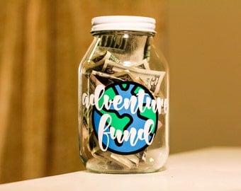 ADVENTURE FUND JAR with multi colored globe    travel fund coin jar piggy bank wanderlust trip fund