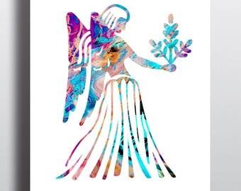 Virgo 1 Watercolor  Astrology Art, Print, Virgo  Sign , Virgo Zodiac, Virgo Wall Art,  Virgo Poster, Gift for  Virgo