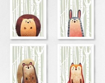 Woodland Animals Set 4 Prints - Half Animal - (Hedgehog/Rabbit/Squirrel/Fox)