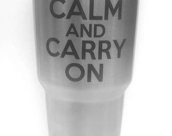Keep Calm and Carry On Decal, Keep Calm and Carry On sticker, Yeti Decal, Laptop Decal, Coffee cup decal, Tumblir Decal, GIFT.......