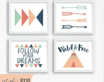 Tribal Boho Girls Nursery Art Prints Set of 4 Digital Art Prints Wild and Free Pink Coral Mint Art Prints Pink and Mint Nursery Arrow Art