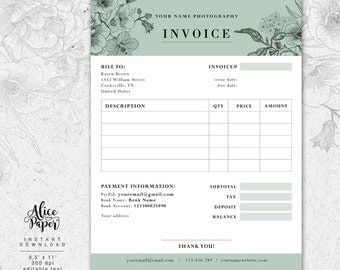 Invoice Template Photography Invoice Receipt Template For - Photography invoice template