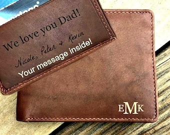 Personalized men's wallet • custom engraved wallet • personalized gift for dad, personalized Fathers day gift • Toffee* 7751