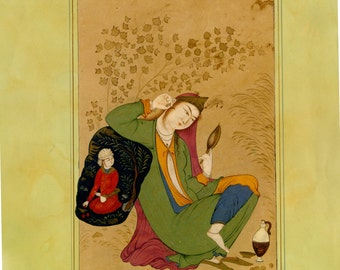 Persian Painting, a miniature of a woman looking at the mirror