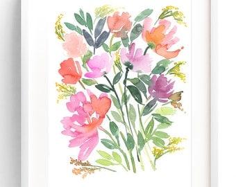 Peonies Bouquet, Watercolor Art Print, Watercolor Painting, Floral Painting, Wall Art Print, Floral Art, Watercolor Flowers, Floral Wall Art