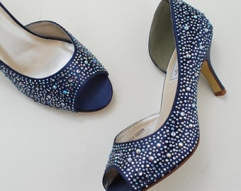 Marine Wedding Shoes Navy Bridal Crystal Bridesmaids