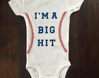 Baby Baseball Onesie/I'm A Big Hit