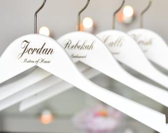 SET OF 7 Wedding Hangers/Bridesmaid Gift/Engraved Hangers/White Hangers/Bridal Hanger/Bridesmaid Hanger/Personalized Hanger H03