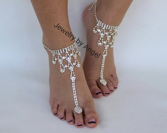 Rhinestone Wedding Foot Jewelry Barefoot Sandal Bridal Sandals Soleless Shoes Beach Wedding Bridesmaid Gift Anklet