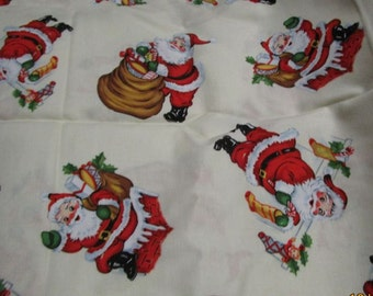 Christmas Fabric cream with santa print