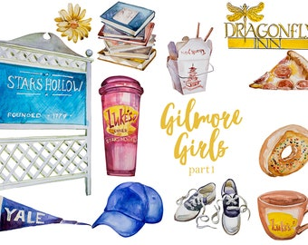 Watercolor Gilmore Girls (Part1) Clipart Set,Lorelai and Rory,Stars Hollow,Luke's Diner,Gilmore Girls,In Omnia,Dragonfly Inn,PNG,Tv Show