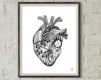 Love Me Tender Heart Black and White Art Print