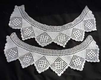 Free Shipping In USA Vintage Hand Crocheted White Cotton Collar     979