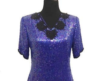 Stenay Vintage 1980's Black and Blue Sequined, Beaded, Short Sleeved Evening Top / 80's Formal Tops