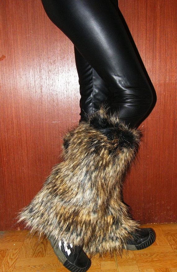 faux fur leg warmers boot covers brown wolf color