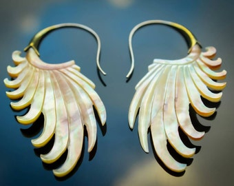 Mother of pearl wing feather hand carved tribal boho earrings
