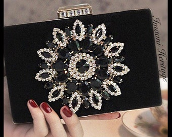 Maia noir / crystal clutch/ embellished clutch/ crystal purse/ purse/ clutch/ handmade crystal bridal clutch/ black clutch/ black purse