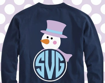Snowman monogram svg, snowman svg, christmas monogram svg, SVG, DXF, EPS, cut file, santa hat svg, snowman cut file, snowman dxf, cricut