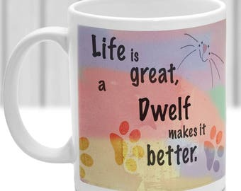 Dwelf cat mug, Dwelf cat gift, ideal present for cat lover