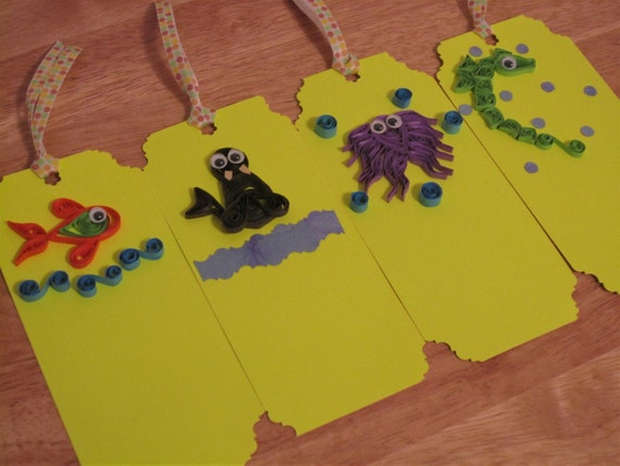 Sea Theme Bookmarks ,Ocean Theme Bookmarks,Quilled Bookmarks,Quilling.