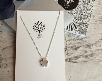 Flower Necklace with Sterling Silver Chain