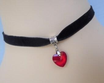 Black Velvet Choker ~ Black Red Pendant ~ Goth ~ Choker ~ Burlesque ~  Red Glass Heart ~