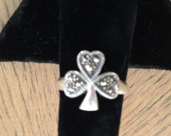 Sterling Silver Marcasite Clover Ring