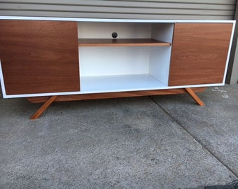 NEW Hand Built Mid Century Inspired TV Stand. Mahogany Two Tone 2 door and center shelf with angled leg base. Buffet / Credenza
