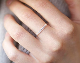 rose pink raw diamond wedding band rose diamond ring diamond stacking ring pink - Pink Diamond Wedding Ring
